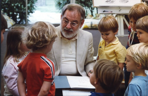 At a presentation with schoolchildren in Germany.